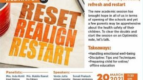 "Webinar for Parents- ""Reset, Realign, Restart"" the new session with an Optimistic Approach 20-03-2021"