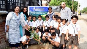 Tree Plantation by the students of class I&II