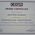 Award for Best Management College in India for Placement 2017 by CEGR