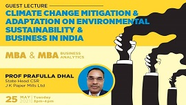 Guest Lecture on Climate Change Mitigation & Adaption on Environmental Sustainability & Business in India