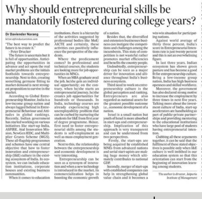 Why Should enterpreneurial skills be mandatorily fostered during college years?