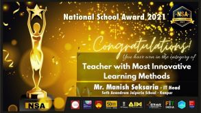 """Teacher with most innovative learning methods"""" – """"National Awards for Schools – 2021"""