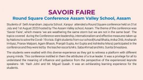 Savoir Faire' – Round Square Conference Assam Valley School, Assam