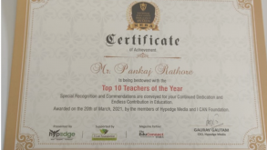 """Top 10 teachers of the year"" Wins Pankaj Rathore"