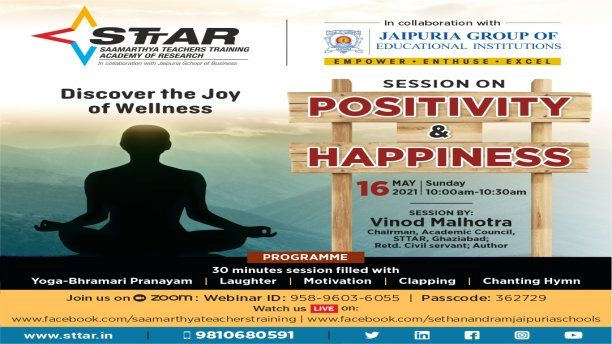 Session on Positivity & Happiness By Mr. Vinod Malhotra